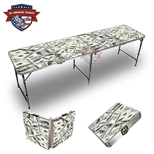 $100 Dollar Bills Theme 8 Foot Folding Tailgate Table