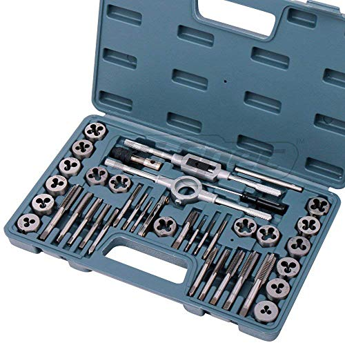 Hi-Spec 39 Piece Tap and Die Set Standard Tapered, Plug Hand Tapping, Cutting, Threading, Forming, and Chasing Thread Kit with SAE, Metric Measurements for Garage, Workshop, Mechanics Use