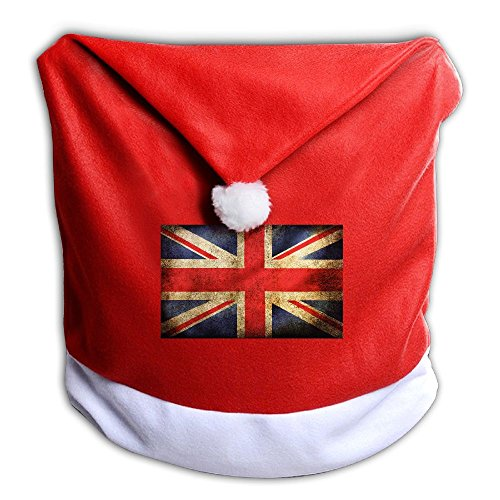 England Costume For United Nation (UK Flag Christmas Santa Hat Decor Chair Back Covers, Soft Red And White Slipcovers For Kitchen And Dining Room)