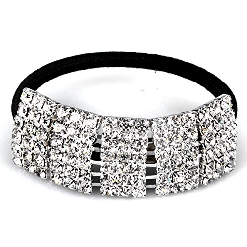Designer Fashion Elastic Rhinestone Hairtie Ponytail Holder Headband Jewelry Accessories for Women Girls Hair Band by Hair (Rhinestone Accessories)