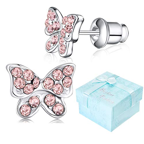 Buyless Fashion Girls Butterfly Stud Earrings Silver Surgical Stainless Steel - E100BTPNK ()