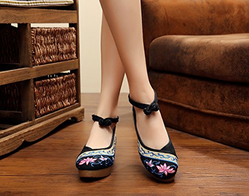 Excellanyard Mujeres Embroidery Platform Wedges 04-black