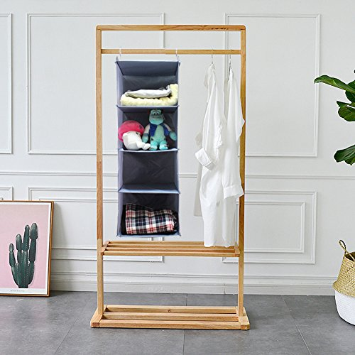 BabyCola 4-Shelf Hanging Closet Organizer, Hanging Clothes Storage Box,Collapsible Closet Hanging Shelf,Sweater & Handbag Organizer, Shoes Accessories Storage,Easy Mount(gray) by BabyCola (Image #6)