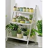 LXLA- 3-Tier Flower Stand Wooden Potted Plant Display Ladder Planter Shelf Floor-Standing Herb Pot Rack Foldable Multilayer White 50/70/100×40×96cm (Size : 70×40×96cm)