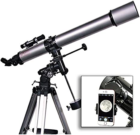 astroquest 90 mm telescopio Refractor con Universal Smartphone cámara adaptador (plata): Amazon.es: Electrónica