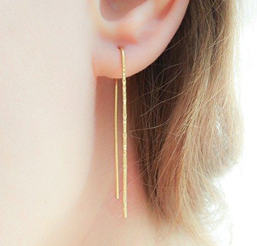 (Gold Filled Long Threader Earrings Minimalist Earrings Ear Threads Pull Through)