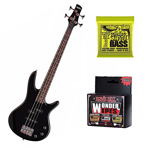 Ibanez Mikro GSRM20 28.6″ Scale Electric Bass Guitar (Black) Includes Extra Pair of Ernie Ball Bass Stings and Multi Pack Wonder Wipes