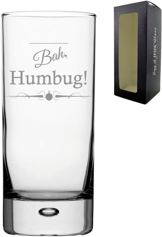 Humbug Engraved Novelty Christmas HiBall GlassBah Gift Boxed Christmas Gift