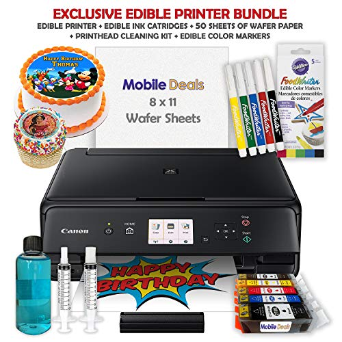 Mobile Deals Edible Birthday Cake Topper and Tasty Treats Image Printer Bundle - Includes Canon Wireless Printer, Edible Ink Cartridges, Edible Markers, Wafer Paper and Edible Print-head Cleaning Kit
