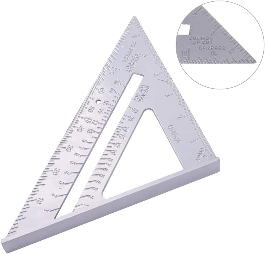 for Carpenter SUSSURRO 7 Inch Aluminum Alloy Triangle Ruler Frame Roofing Building Tool for Engineer Carpenter Imperial Stop Angle Imperial Square Protractor High Precision Measuring