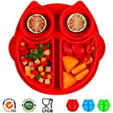 SJ Silicone Placemat for Kids, Silicone Divided Toddler Plates BPA-Free Owl Baby Suction Placemat - Dishwasher and Microwave Safe - Soft FDA/LFGB Certified Silicone - Great for Baby Or Kids (Red)
