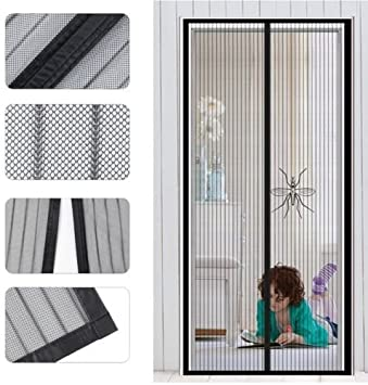 Magnetic Screen Door Fits Door Up To 38 X 82 80 Inch Curtain With Full Frame Velcro Magnet Screen For French Doors Sliding Glass Doors Amazon Com