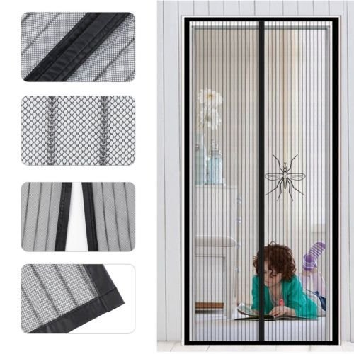 Magnetic Screen Door Fits Door Up To 38 x 82/80 Inch,  Curtain with Full Frame Velcro, Magnet Screen For French Doors/Sliding Glass Doors