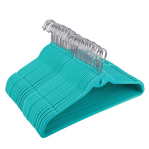Juvale Teal Velvet Hanger - 50-Pack Non Slip Hangers with Cascading Hooks, Thin Style, Chrome Swivel Top Hook, 17.5 x 9.2 Inches