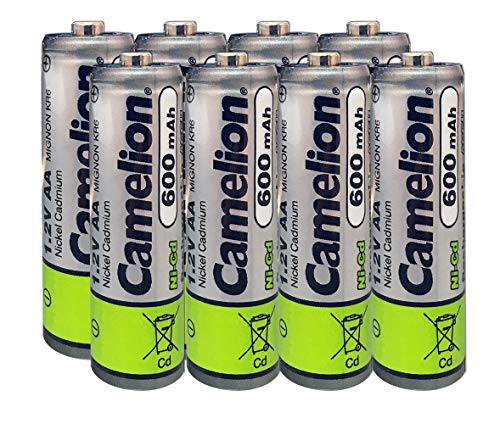 (Camelion AA Size NiCd Nickel Cadmium 1.2V 600 mAh Rechargeable Battery for Solar Garden Lights (8)