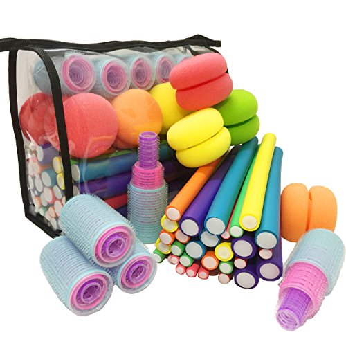 xnicx 53pcs Flexible Curling Rods Hair Rollers Set Soft Bouncy Sponge Sleeping Curls Balls Flexi Rods Natural Self Grip Hair Rollers Curlers for Girls, Kids, Women Curls Long, Medium, Short (Soft Hair Rollers)