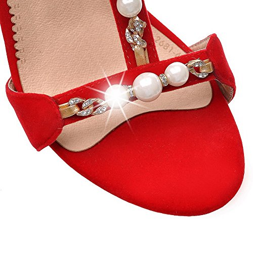 AmoonyFashion Womens Open Toe High-Heels Soft Material Solid Zipper Sandals Red COe0NaMNg