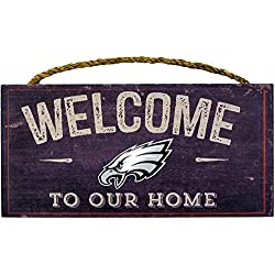 Philadelphia Eagles NFL Team Logo Garage Home Office Room Wood Sign with Hanging Rope - WELCOME TO OUR HOME