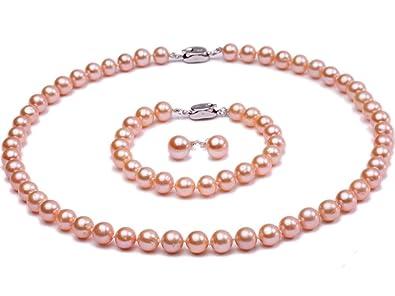 JYX 3 in 1 Jewelry Set Pretty 7-7.5mm Peacock Blue Pearl Necklace Bracelet Sterling Silver Earrings Set PZajb