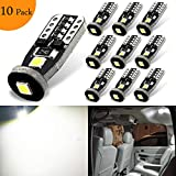 #10: NAKOBO T10 194 168 175 2825 12961 Error Free Non Polarity LED Interior Car Bulb W5W Chipset 3030 for License Plate 6000K Pure White Lights (10 pack)
