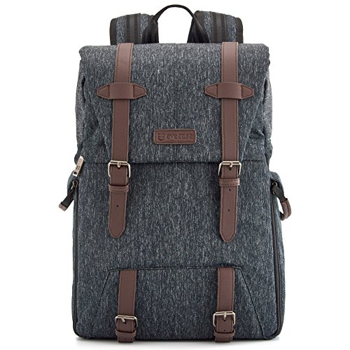 Vented Hybrid Accessory Lenses - Evecase Water Resistant Convertible SLR DSLR Backpack with Rain Cover for Digital Camera with 15.6 Laptop Compartment, Lens and Accessories
