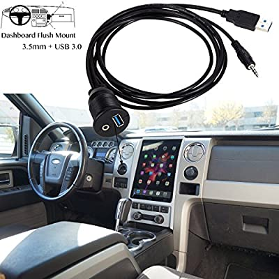 USB Mount Cable,VIMVIP USB 3.0 & 3.5mm AUX Car Flush Mount Waterproof 6.5 Feet Extension Flush, Dash, Panel Mount Cable for Car/Boat/Motorcycle: Car Electronics