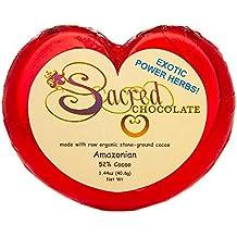 Sacred Chocolate AMAZONIAN Maple Sweetened, Stone-Ground, Organic Vegan RAW Chocolate 52% Cacao 1.44oz Bar (12 Pack)