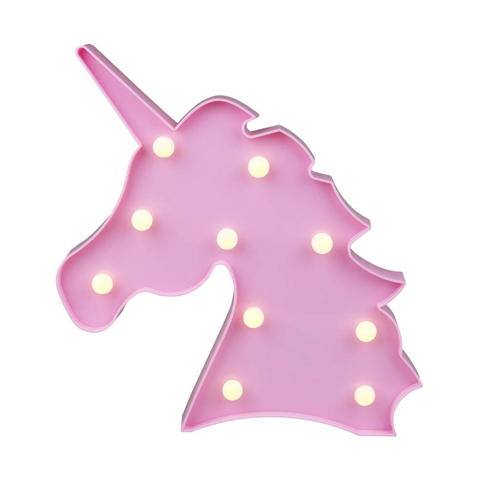 Cute Unicorn Head Led Night Light Animal Marquee Lamps On Wall for Children Party Bedroom Decor Kids Gifts (Unicorn Head Pink)