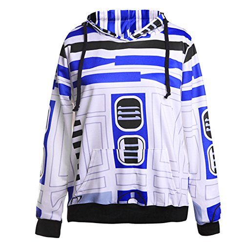 VENI MASEE Unisex 3D Digital Druck Casual Pullover Hoodie Sweatshirt für Liebhaber(S-XL) WeißBlau