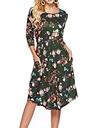 Womens Dresses 3/4 Sleeve Round Neck Floral Casual Swing Midi Dress with Pockets