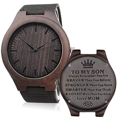 Engraved Watches for Son - Engravedto My Son Love Mom -Unique Gift from Mom to Sons Watch Graduation Gift