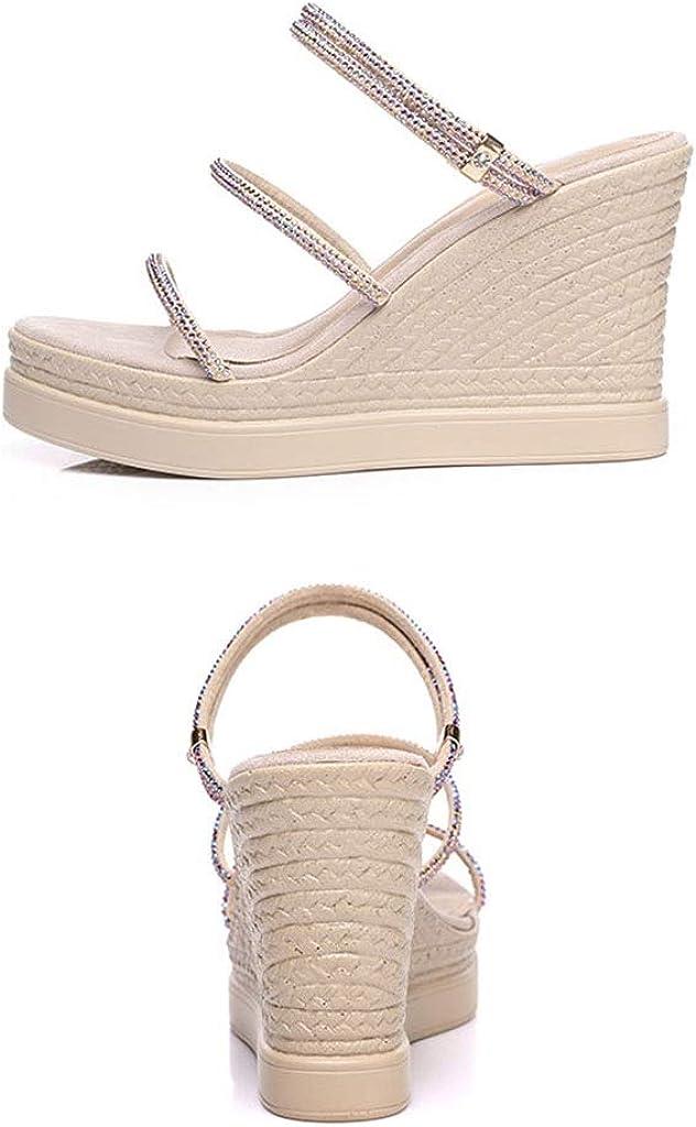 Sandals Girls Shoes Summer Fashion Rhinestones Thick Bottom Wedge Womens Rhinestone Fashion High-Heeled Small Size Shoes