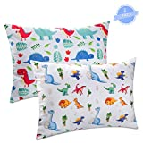 """Sylfairy Toddler Pillowcase 2 Pack 14""""x19"""" Fit for 13""""x18"""", 12""""x16"""" Pillow, Dinosaur Throw Pillow Cover Soft Bedding Pillow Case for Kids(White)"""