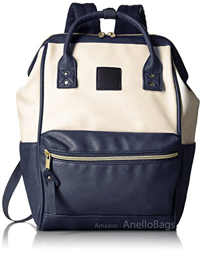Ivory Pu Leather (Japan Anello Backpack Unisex IVORY x NAVY MINI SMALL PU LEATHER Rucksack Bag Campus)