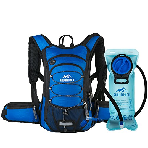 RUPUMPACK Insulated Hydration Backpack Pack with BPA Free 2L Water Bladder - Keeps Liquid Cool up to 4 Hours, Prefect Outdoor Gear for Hiking, Running, Cycling, Camping, Skiing, 15L (Cobalt Blue)