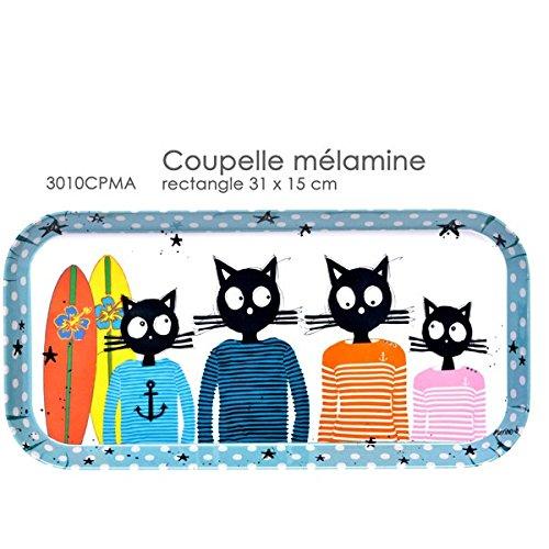 3010CPMA Plat A Cake RECTANGULAIRE 31 X 15 CM Decor Chat Marin Fox Trot