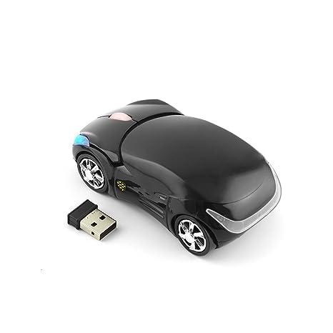 Ratón inalámbrico Hinmay 2,4 GHz inalámbrico 3D deportivo con forma de coche ratón óptico