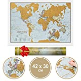 Maps International Scratch The World Travel Edition Map Print -- 16.53 x 11.69 in