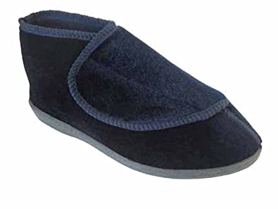 84f3c0e30d3 Ladies   Womens Orthopaedic   EEE Wide Fit Velcro Slipper Boot   Slippers -  Navy -