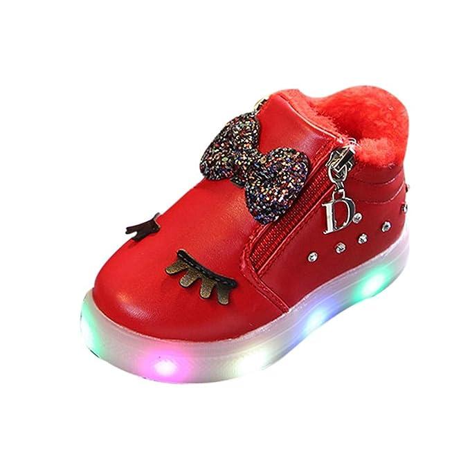 YanHoo Zapatos para niños Invierno de los niños más Terciopelo Arco cálido pedrería Zapatos Blancos LED Destellos Zapatos iluminación Zapatos Zapatillas ...