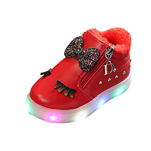 1c9f6b17a Baby Toddler Girls Light Up Shoes Boots 1-6 Years Old ❤️ Kids Bowknot  Crystal Led Luminous Sport Sneaker Shoes