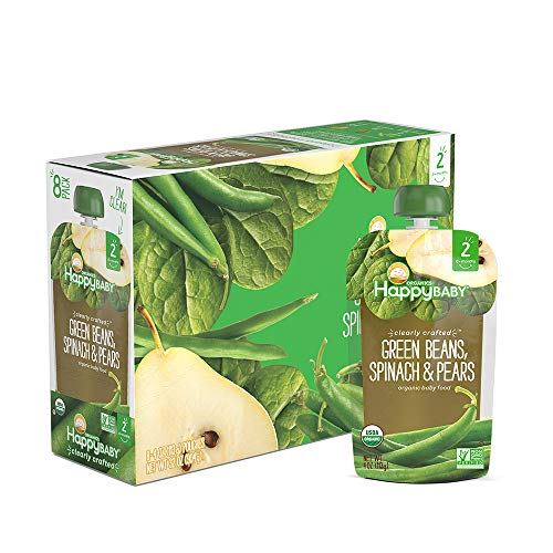 (Happy Baby Organic Clearly Crafted Stage 2 Baby Food Green Beans, Pears & Spinach, 4 Ounce Pouch (Pack of 16))