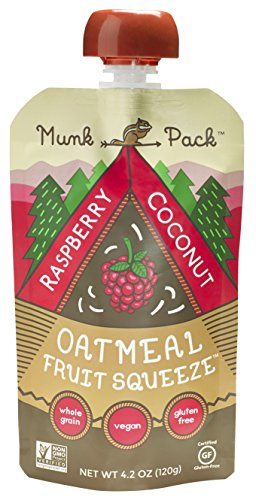 Pack Raspberry (Munk Pack Oatmeal Fruit Squeeze | Raspberry Coconut, Ready-to-Eat Oatmeal On The Go, 4.2 oz Pouch, 6 Pack)