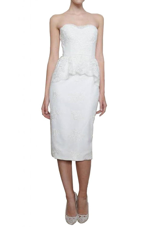 TOSKANA BRAUT Hochwertig Traegerlos Abendkleider Kurz Spitze Brautmode Cocktail Party Ball Hochzeitskleider