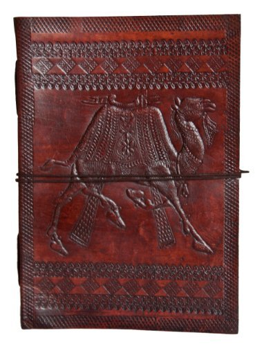 Buffalo Camel - INDIARY Genuine Buffalo Leather Writing Journal with Embossed Camel and Handmade Paper - 10 x 7inch - Camel Big