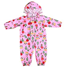 Unisex kids one piece Funny Cartoon Printed rainsuit raincoat waterproof coverall