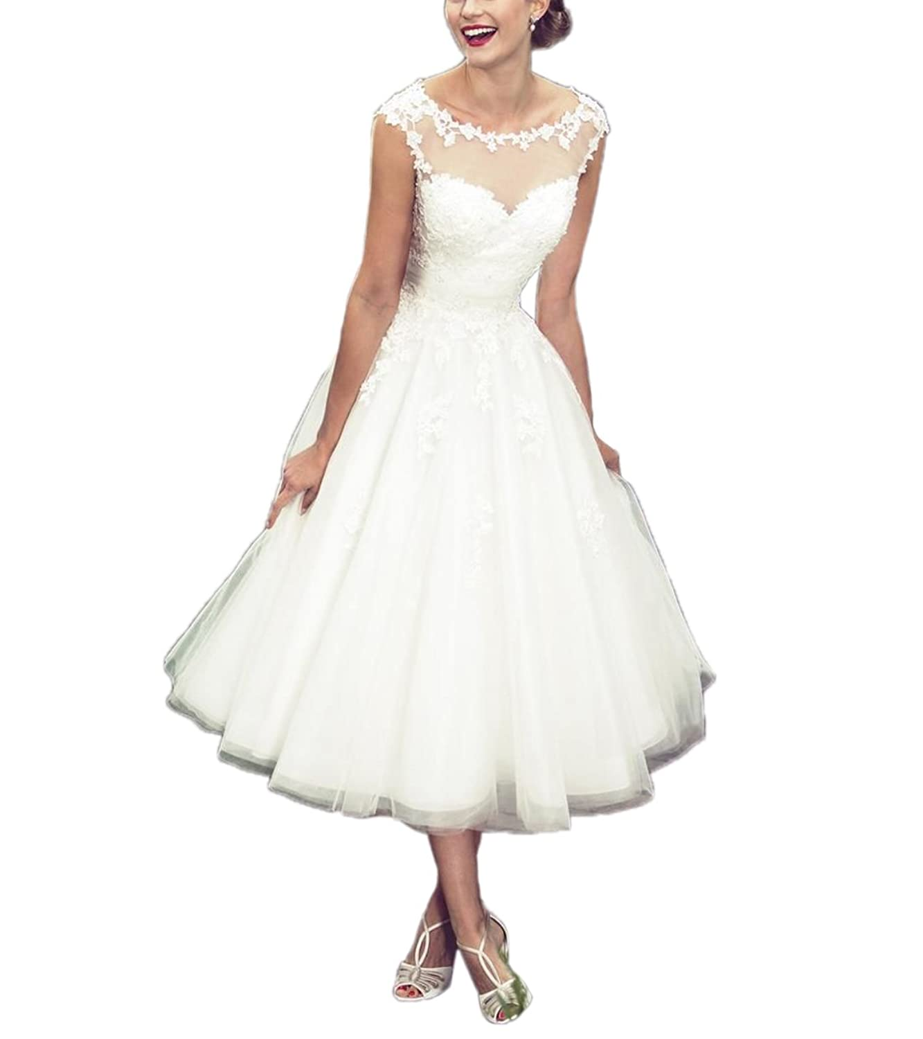 Vintage Style Wedding Dresses, Vintage Inspired Wedding Gowns Womens Elegant Sheer Vintage Short Lace Wedding Dress For Bride $105.00 AT vintagedancer.com