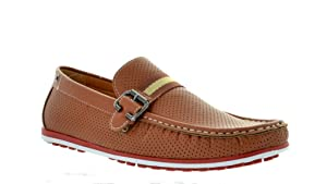 Bruno HOMME MARJOO MODA ITALY Men's Fashion Driving Casual Loafers Boat shoes,Tan-size 9