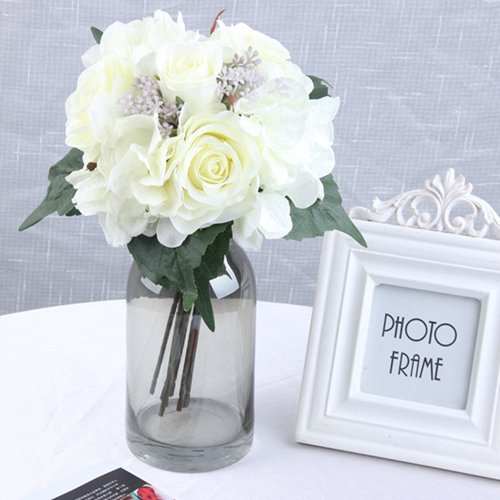 9Pcs/ Lots Artificial Flowers Rose Hydrangea For Wedding Party Birthday Decoration Silk Flowers Colorful DIY Decorative Flower white 5 A