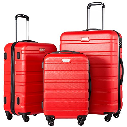 Coolife Luggage 3 Piece Set Suitcase Spinner Hardshell Lightweight (red3)